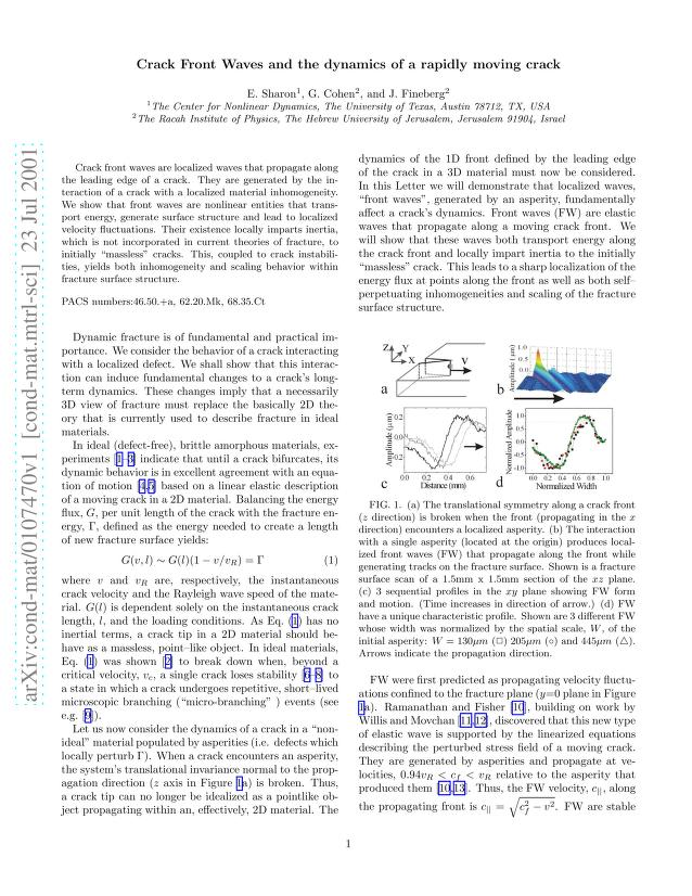 E. Sharon - Crack Front Waves and the dynamics of a rapidly moving crack