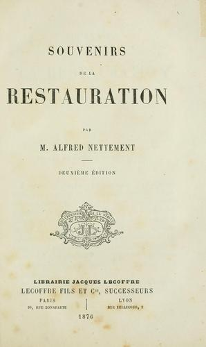 Download Souvenirs de la restauration.