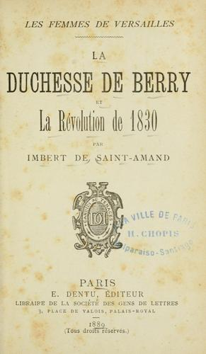 Download La duchesse de Berry et la Révolution de 1830