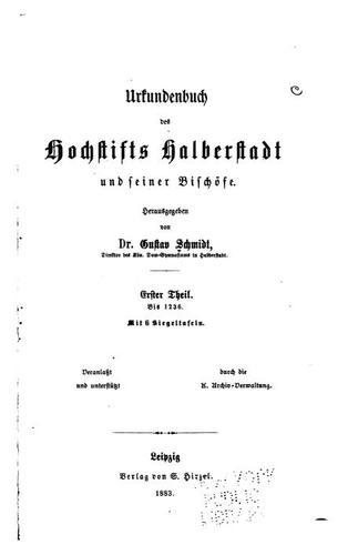 Download Urkundenbuch des Hochstifts Halberstadt und seiner Bischöfe