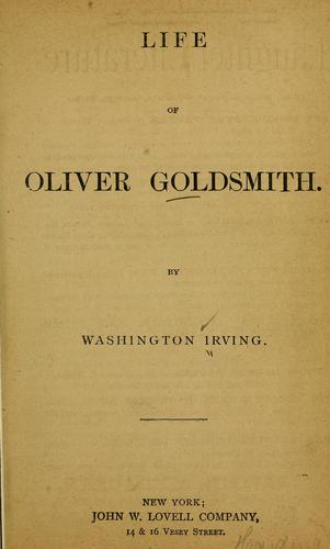Life of Oliver Goldsmith.