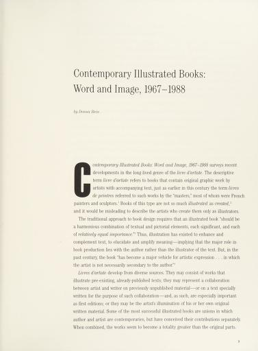 Contemporary illustrated books by organized and circulated by Independent Curators Incorporated, New York ; essay by Donna Stein, guest curator.